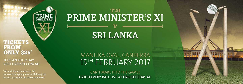 Prime Minister's XI vs Sri Lanka - 15 February at Manuka Oval